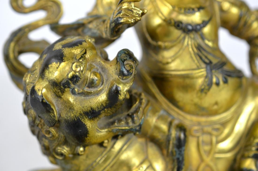 Chinese Gilt Bronze Buddha Figure on Lion - 3