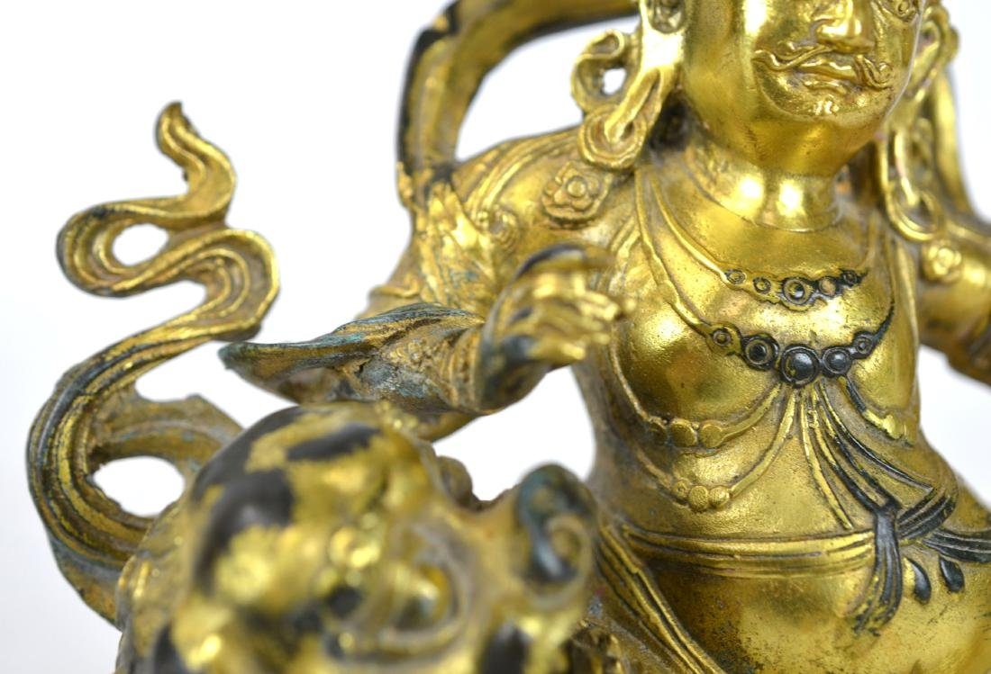 Chinese Gilt Bronze Buddha Figure on Lion - 4