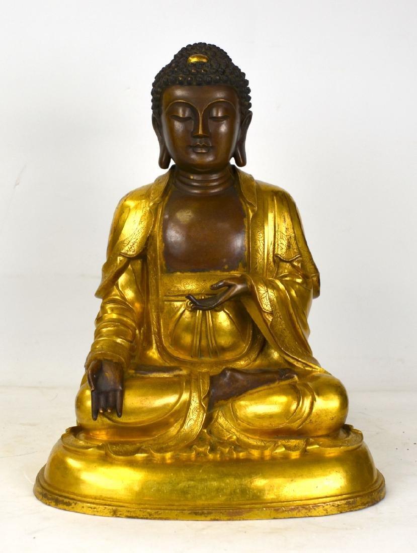 Large Chinese Gilt Bronze Buddha Figure