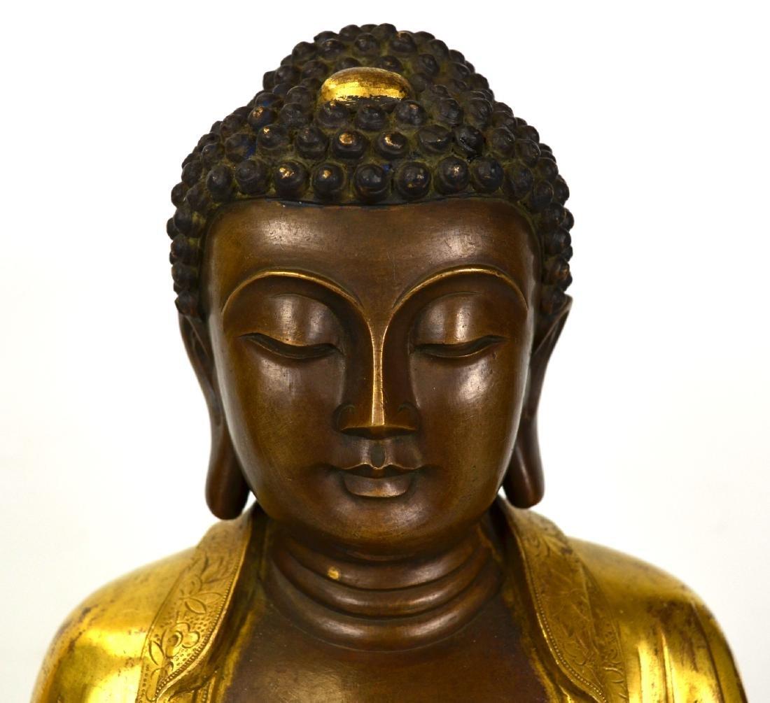 Large Chinese Gilt Bronze Buddha Figure - 2