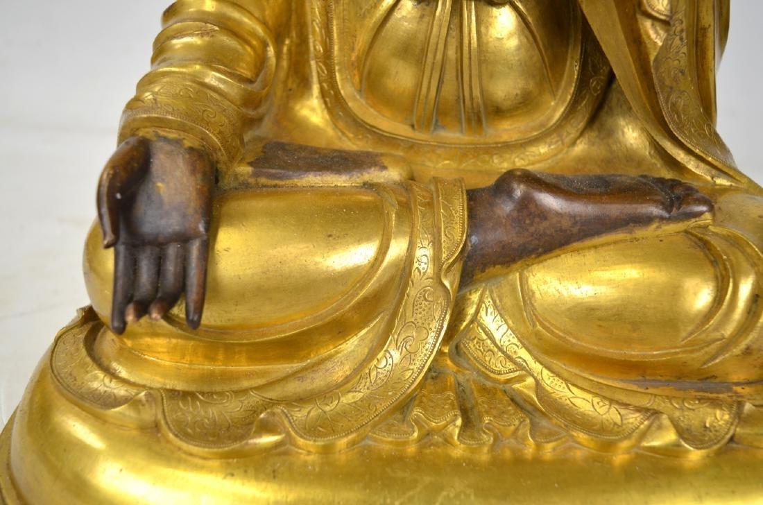 Large Chinese Gilt Bronze Buddha Figure - 4