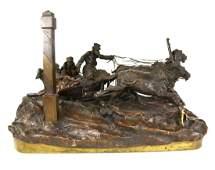 Russian Bronze Troika Sculpture Group