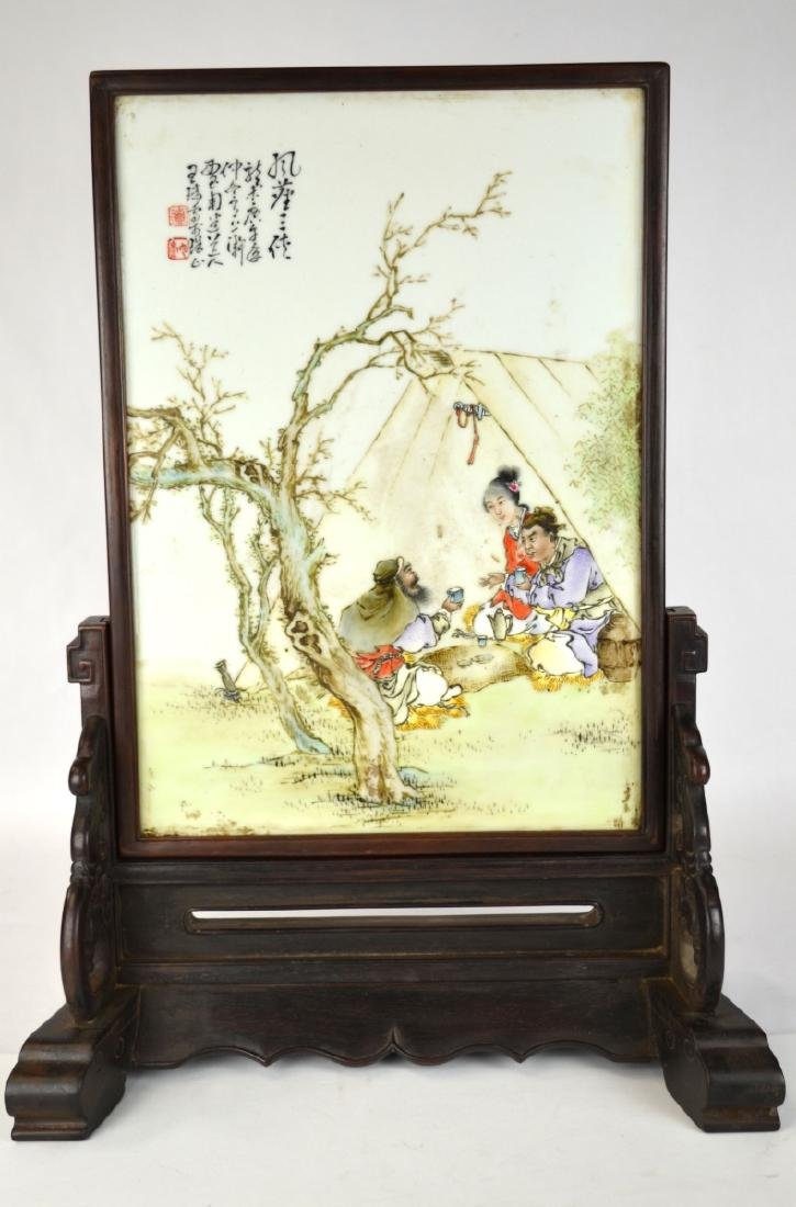Chinese Porcelain Plaque Table Screen