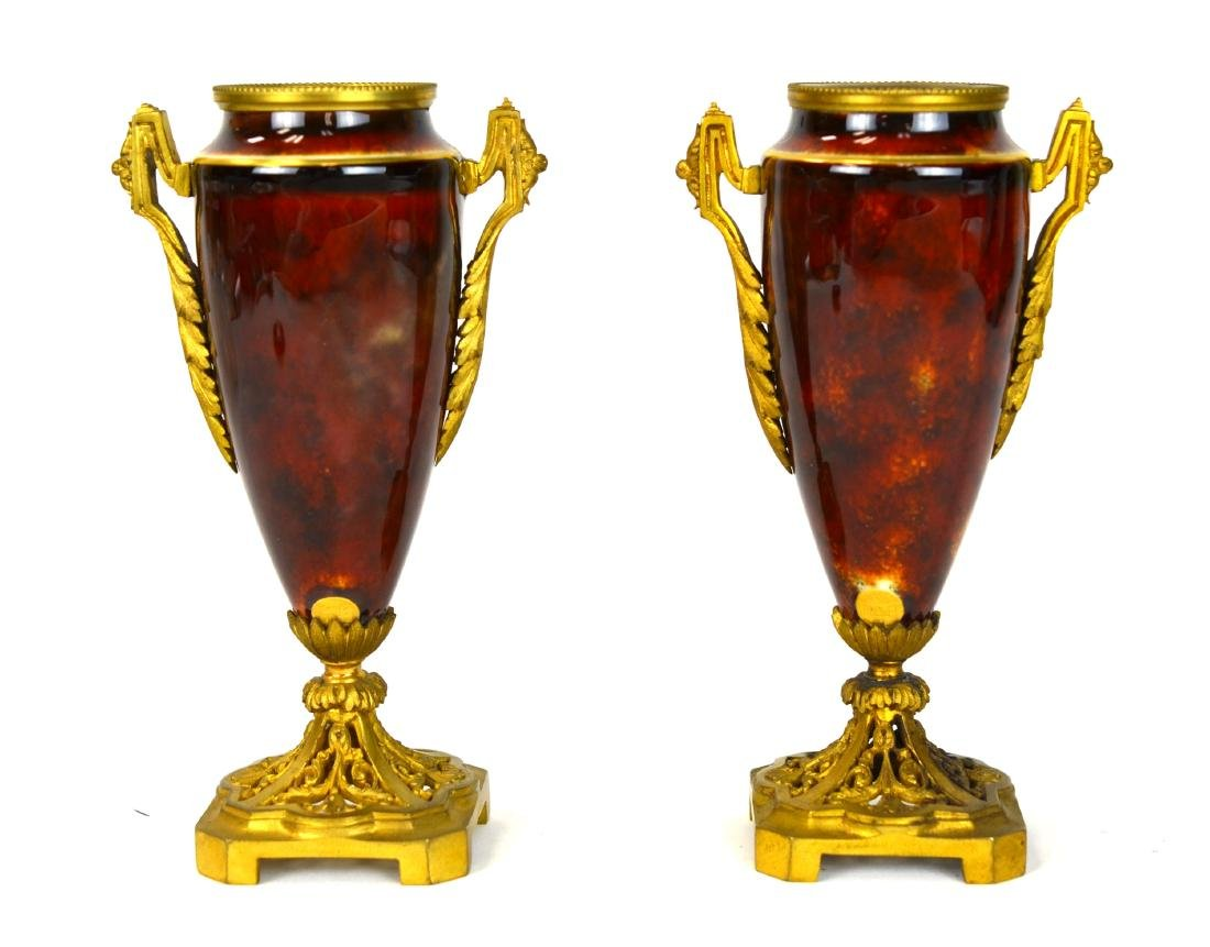 Pr French Enamel Porcelain Vase w. Bronze Mounted