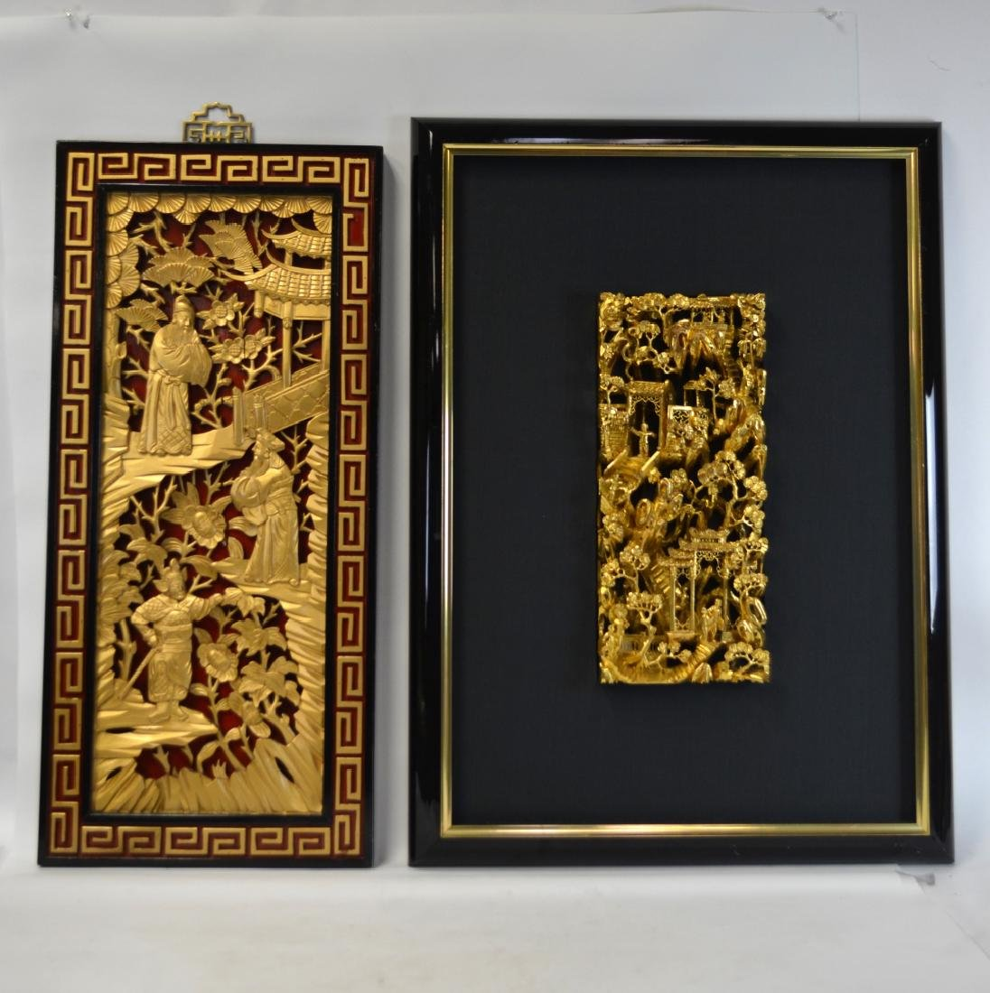 Two Chinese Gilt Wood Carved Panels