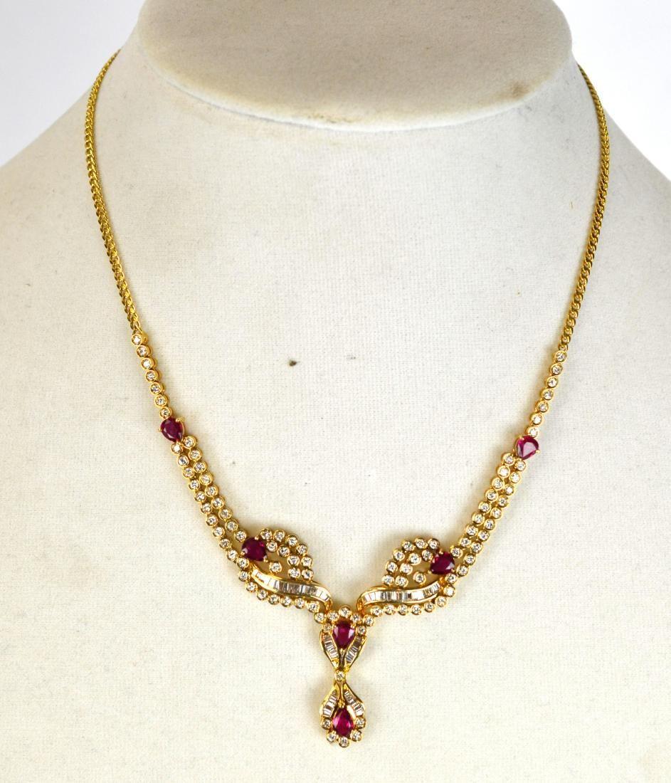 Tiffany & Co.18K Ruby w Diamond Necklace