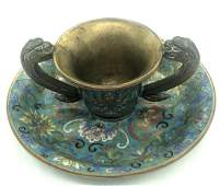 Chinese Cloisonne Cup  Saucer