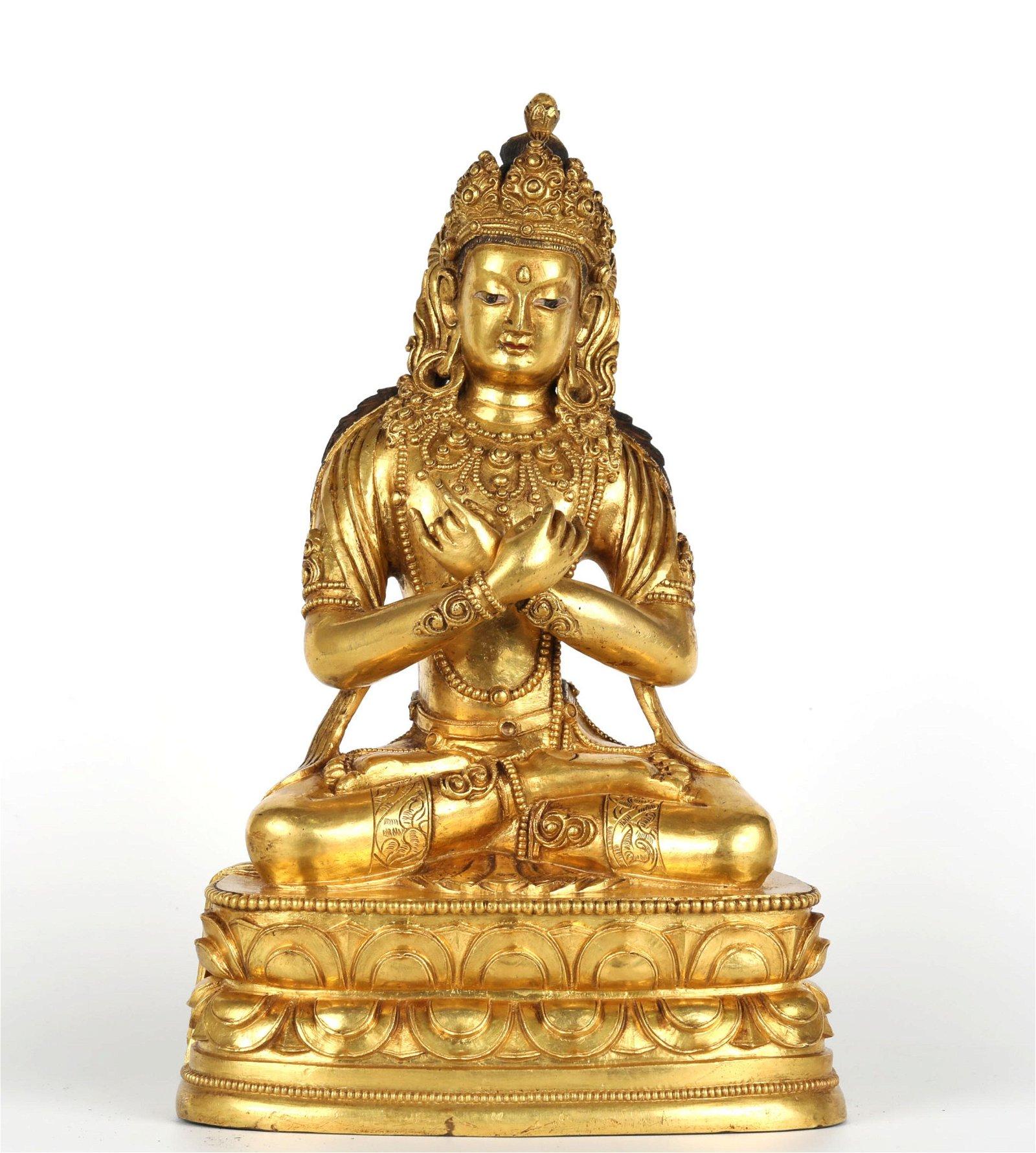 Chinese Gilt Bronze Buddha Figure of Vajradhara