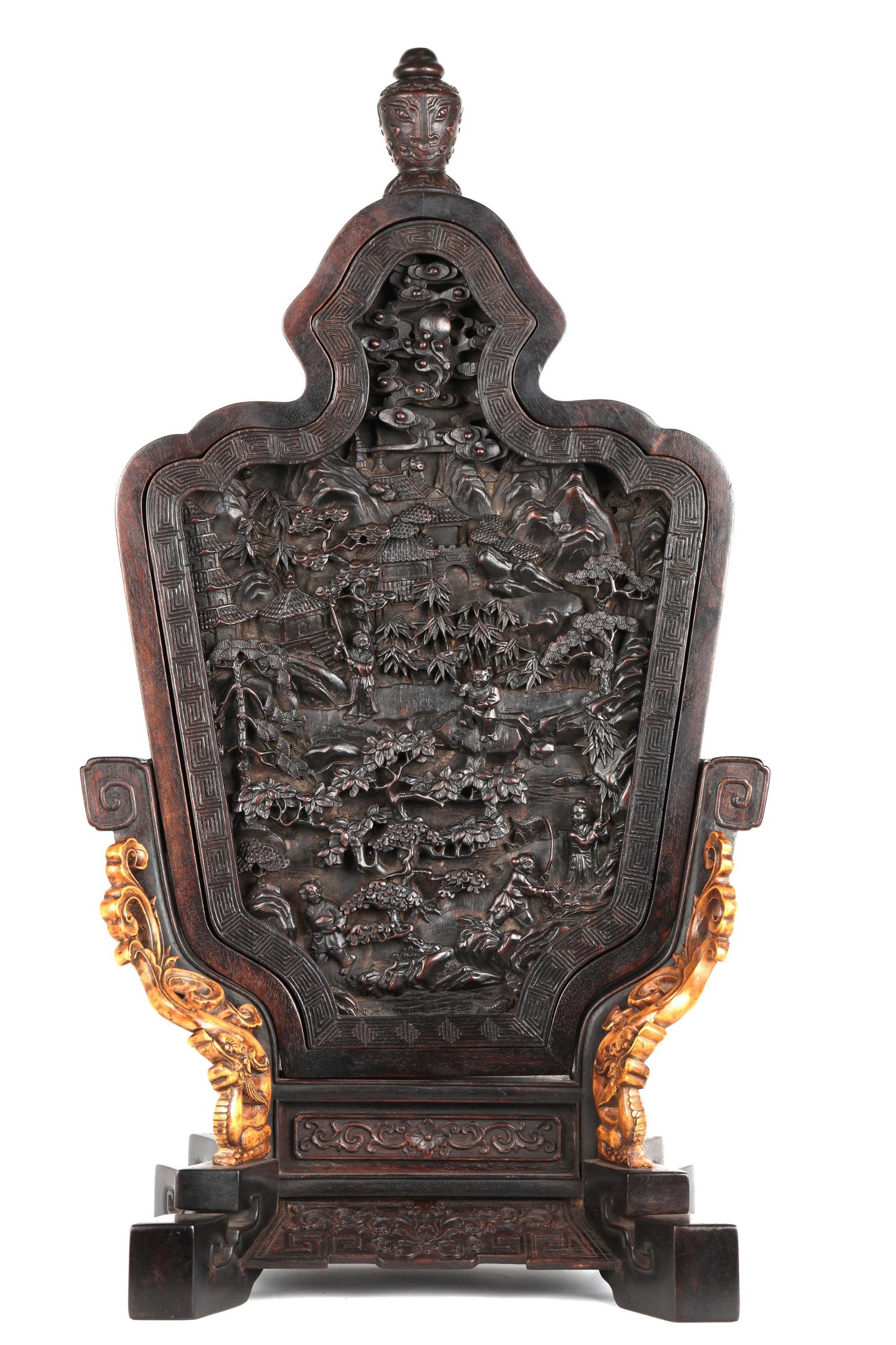 Chinese Carved Zitan Wood Table Screen