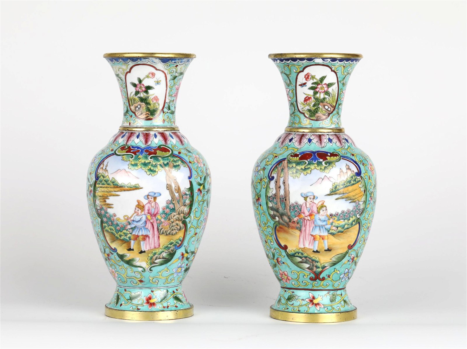 Pr Chinese Bronze  Enameled Vases