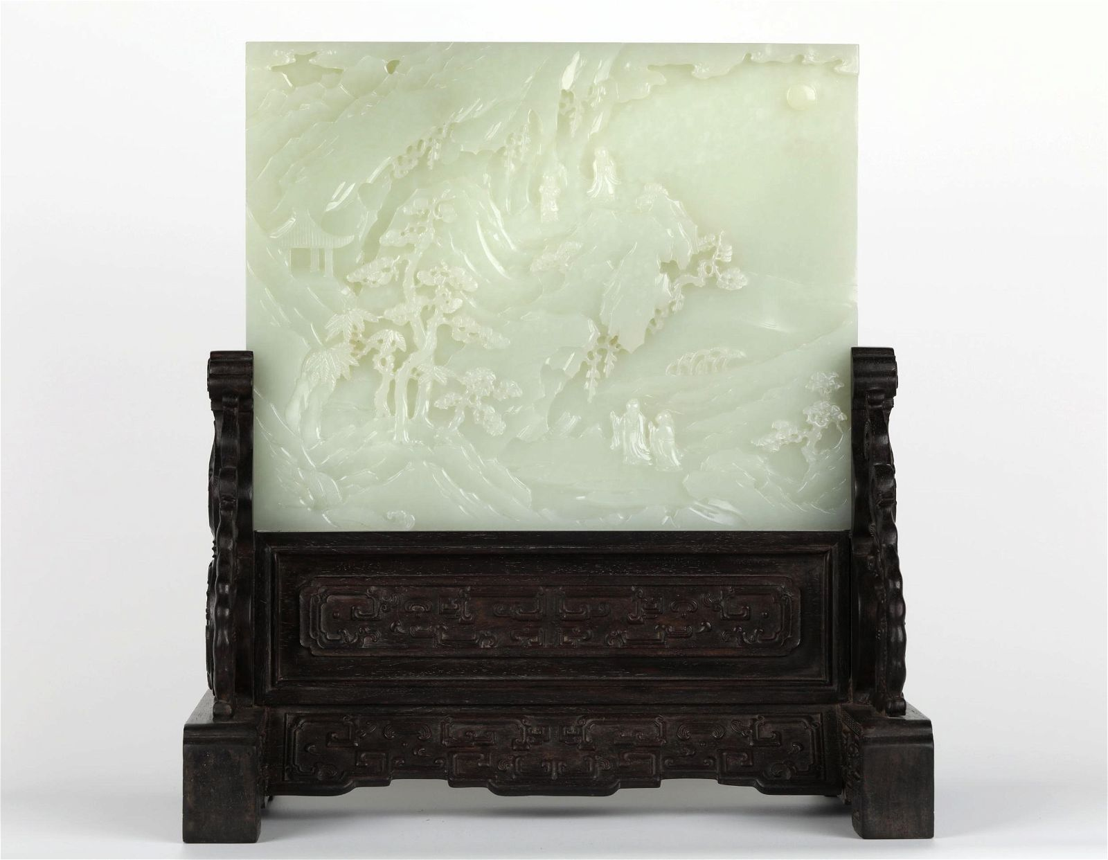 Chinese Carved Jade Plaque Table Screen