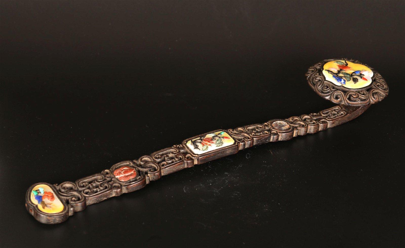 Chinese  Zitan Wood Ruyi Scepter w. Jade Inlaid
