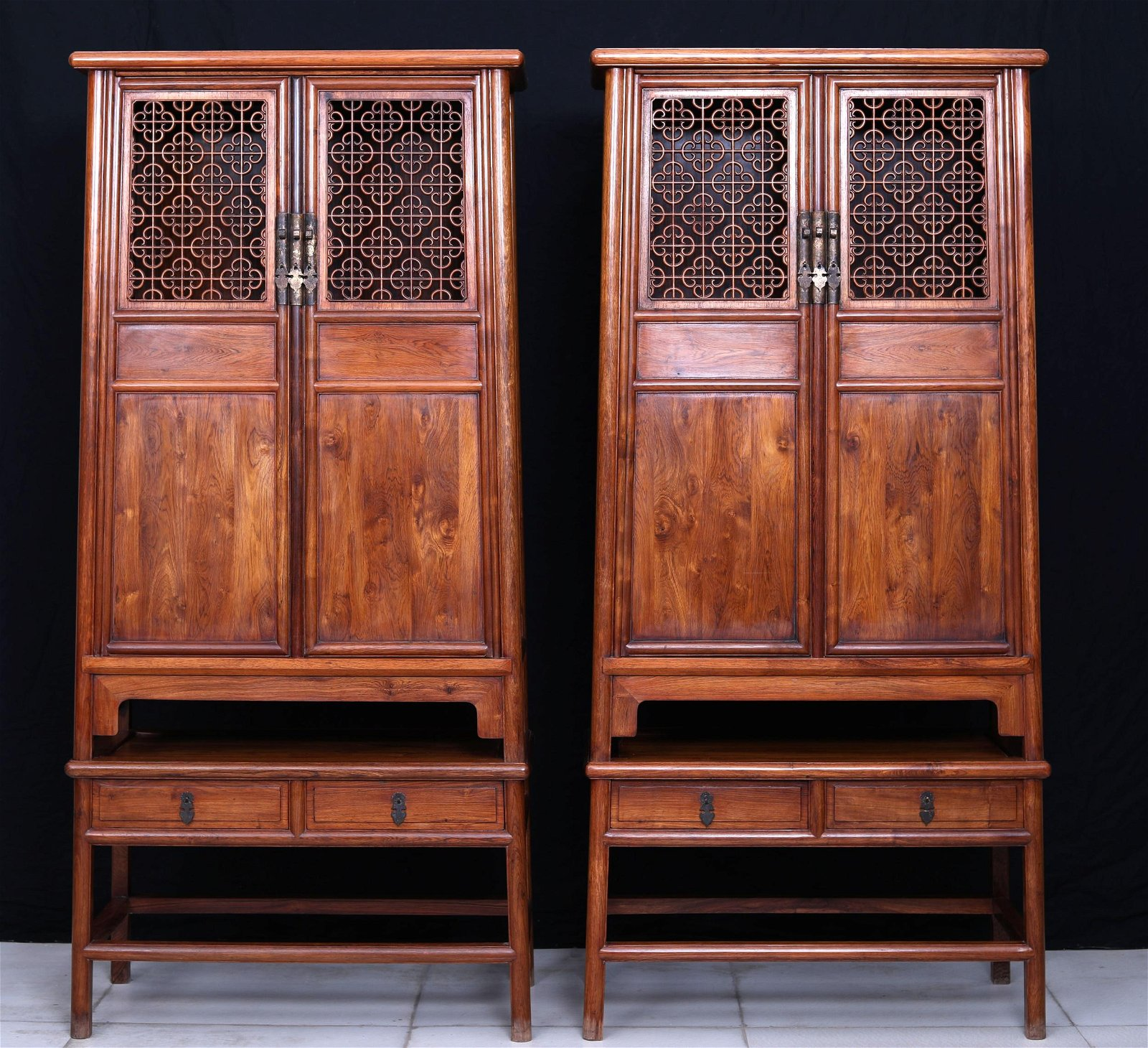 Pr Chinese Huanghuali Wood Cabinets