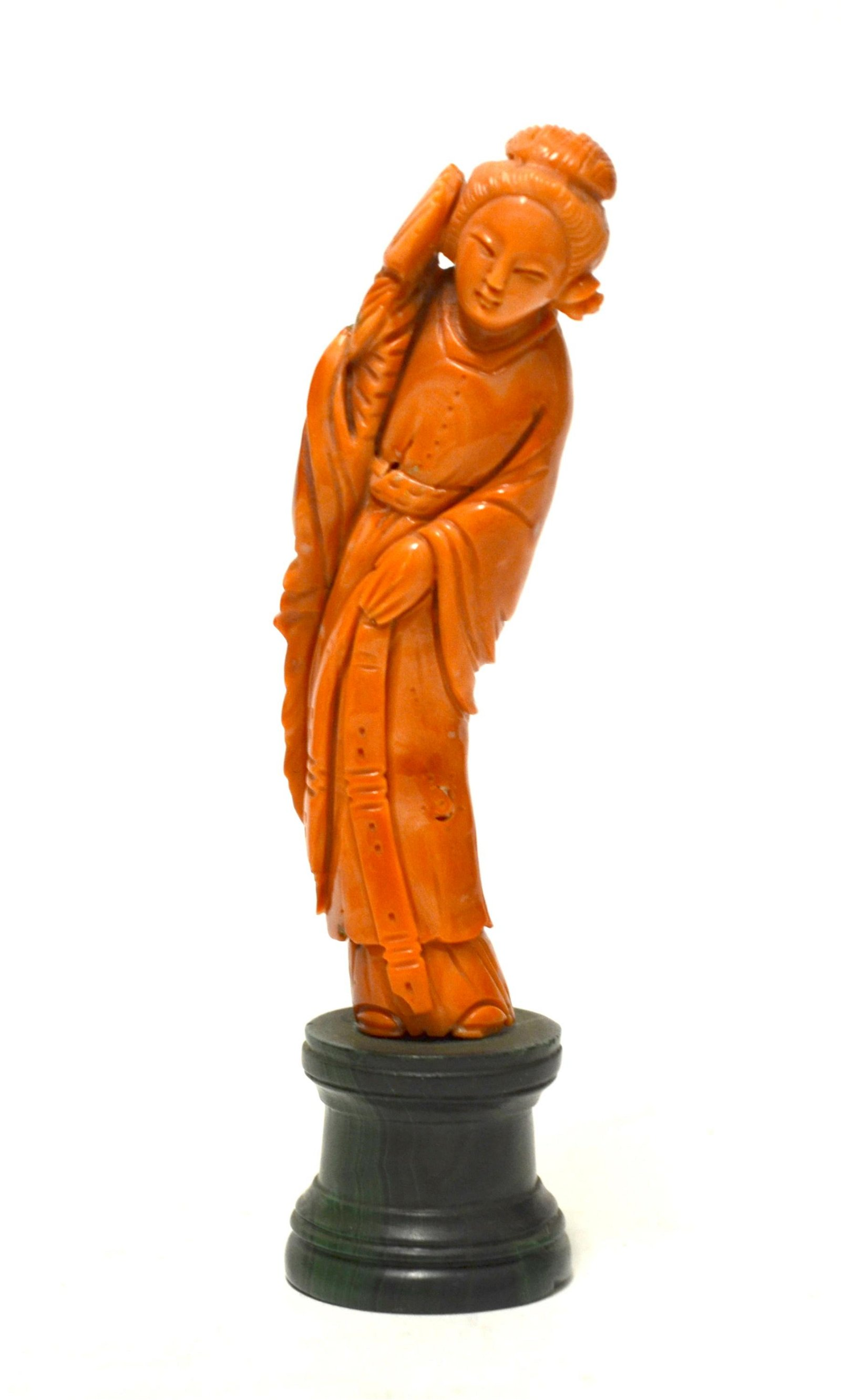 Chinese Carved Coral Figure of Lady
