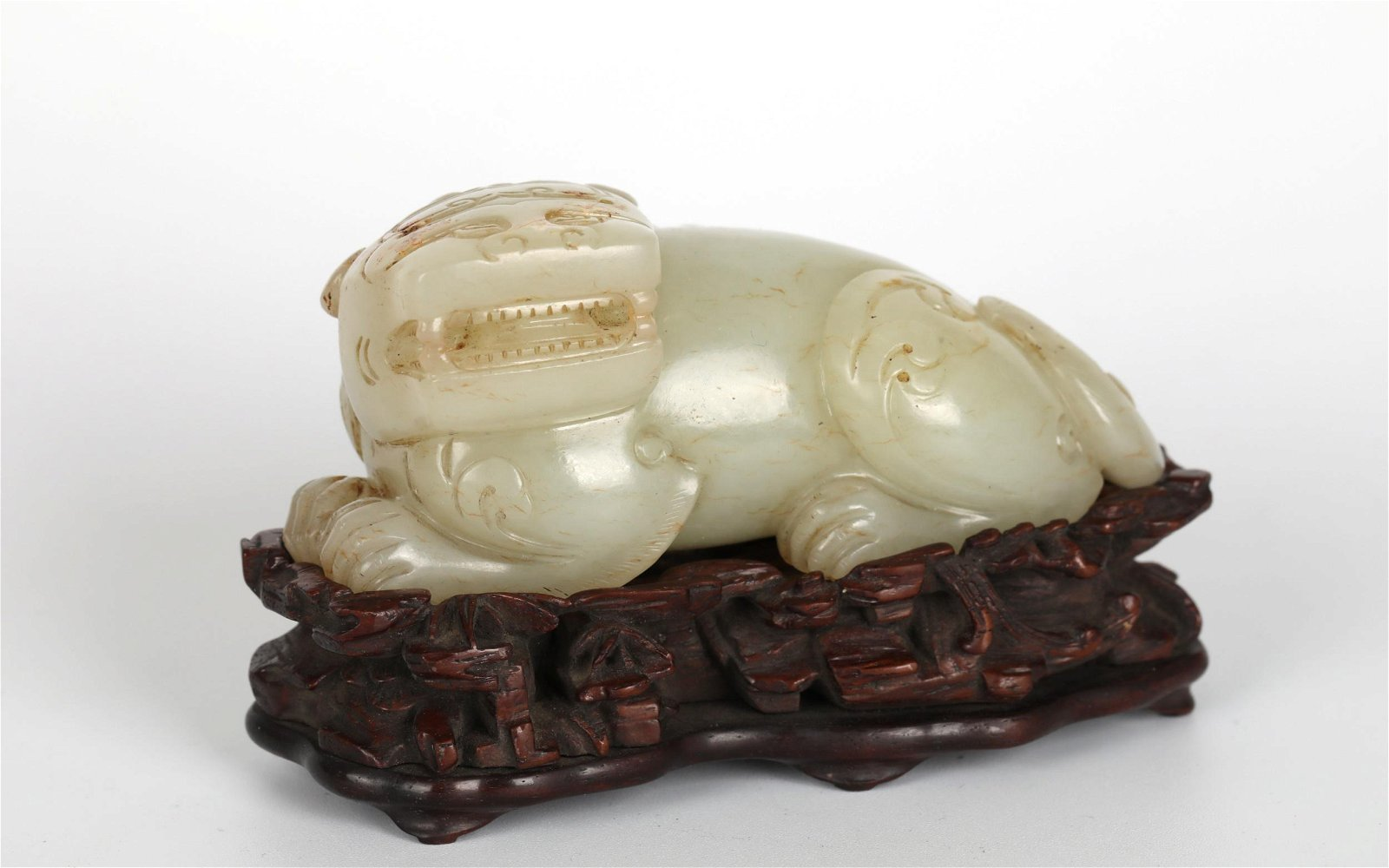Chinese Carved Jade Figure of Lion w. Wood Base
