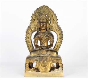 Chinese Gilt Bronze Buddha Figure of Amitayus
