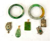 Seven Pcs of Chinese Jade Pendants  Bangles