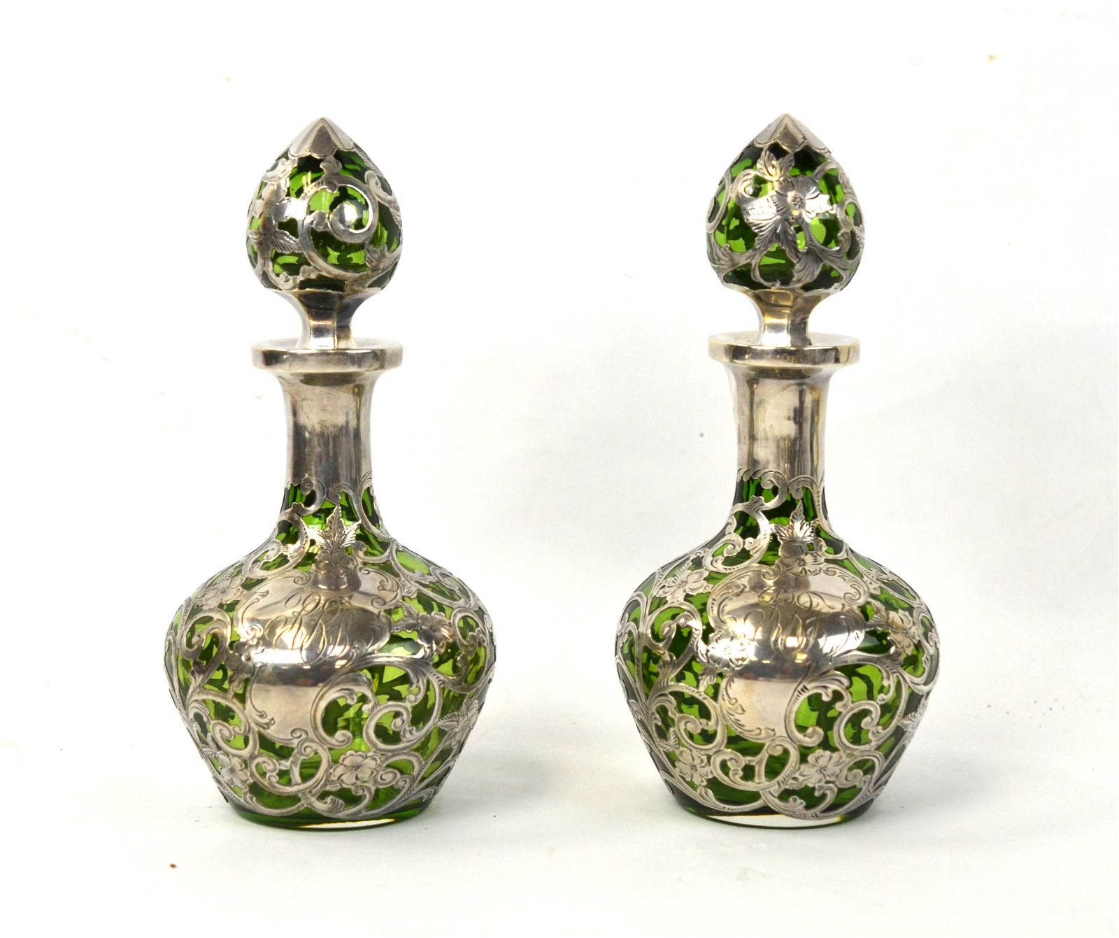 Pr Green Glass Decanters with Silver Overlay