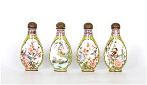 Four Chinese Enamel Copper Snuff Bottles