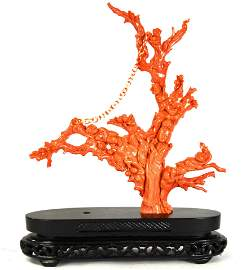 Fine Carved Chinese Red Coral Figure Group