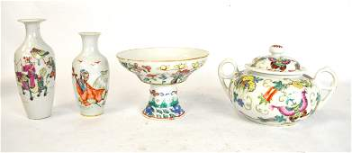 Four Chinese Famille Rose Porcelain Pcs