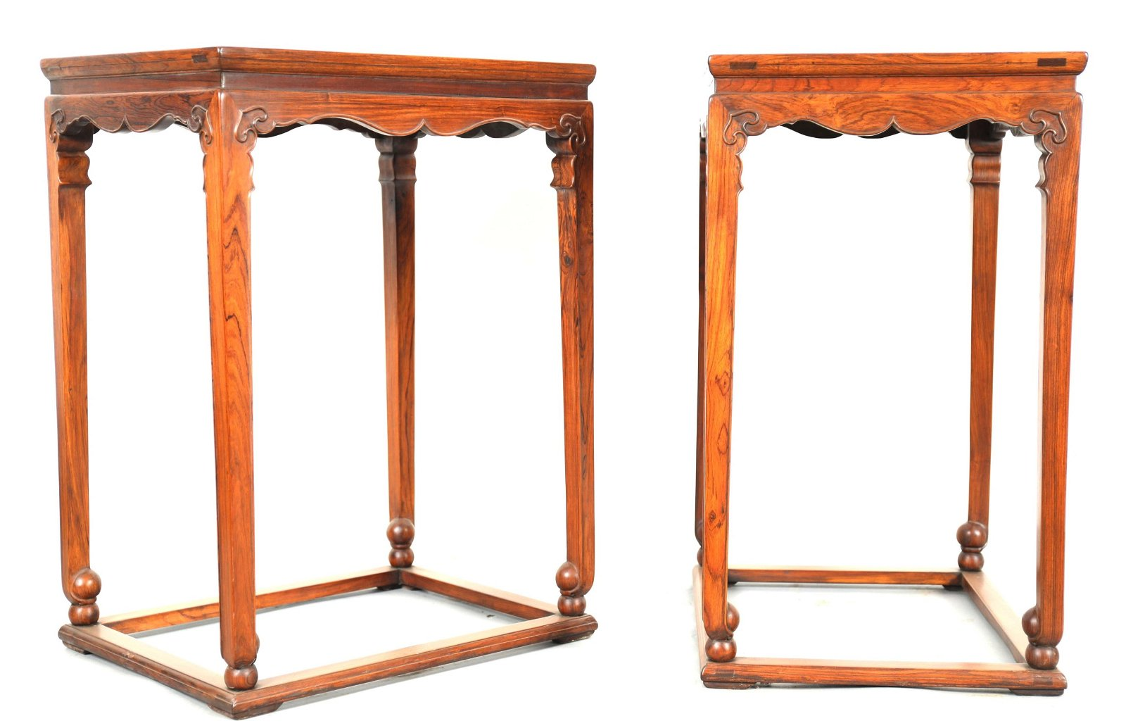 Pr Chinese Huanghuali Wood Side Tables