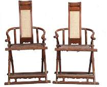 Pr Chinese Huanghuali Wood Folding Chairs