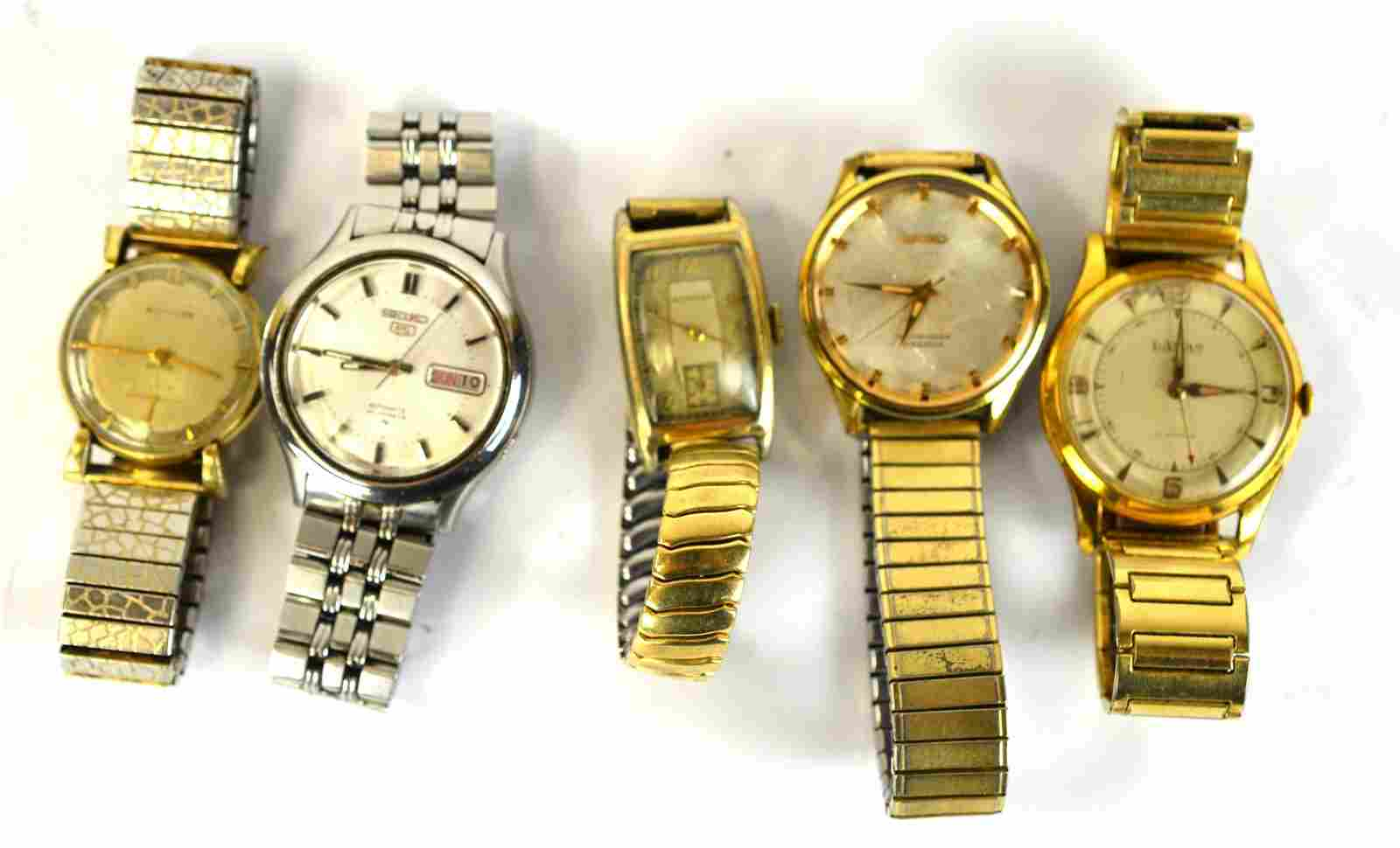 Five Vintage Automatic  Wrist Watches
