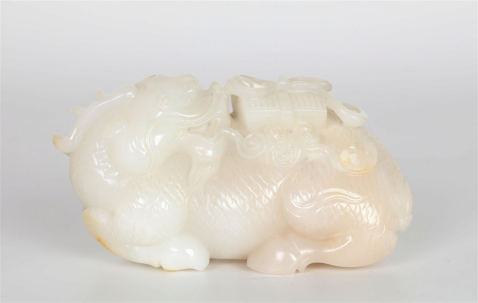 Chinese Carved White Jade Figure of Beast