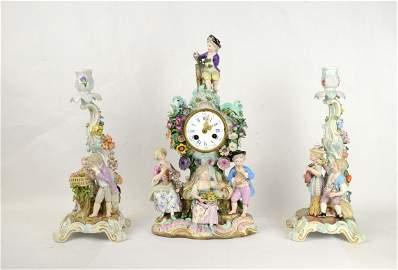 Meissen Clock Set w.. Pr Candelabras