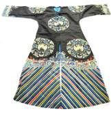 Chinese Silk Embroidered Black Ground Robe