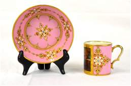Sevres Jeweled Enamel Cup & Saucer