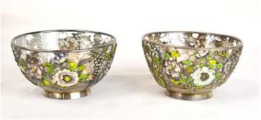 Pr Japanese Silver & Enamel Mounted Glass Bowls