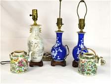 Five Pcs of Chinese Porcelain Vases  Teapots