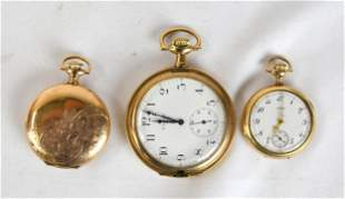 Three Elgin Gold Pocket Watches