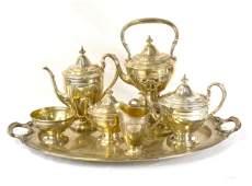 Large Seven Pcs Sterling Silver Tea  & Coffee Set