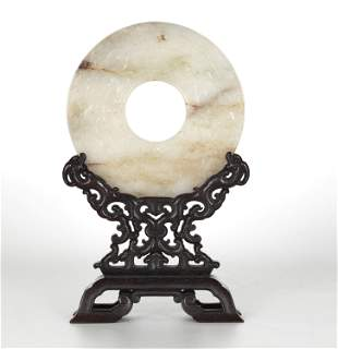 Chinese Carved Circular Jade Bi on Wood Stand
