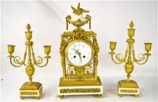 Three French Pcs Dore Bronze Clock Set