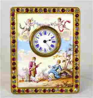 Venetian Enamel Bronze Table Clock w. Gem Stones
