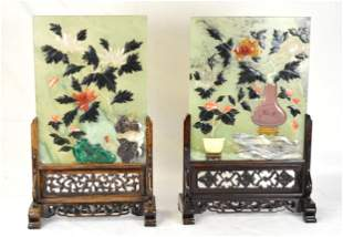 Two Chinese Jade Plaque Table Screens