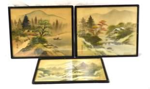 Three Framed Asian Painting on Silk