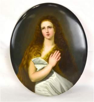 KPM Oval Shape Porcelain Plaque w. Lady