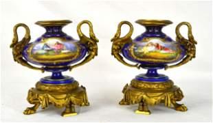 Pr Sevres Urns w Bronze Swan Handles