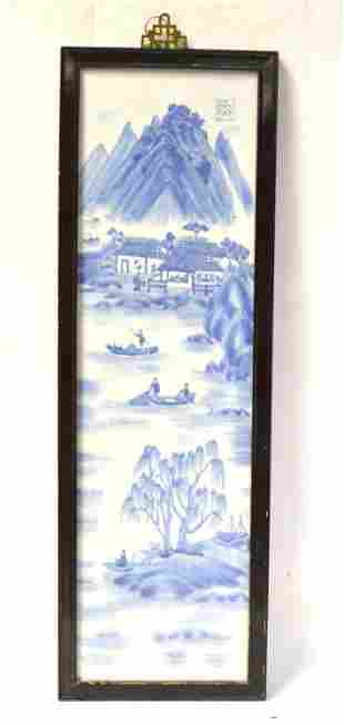 Chinese Framed Blue & White Plaque