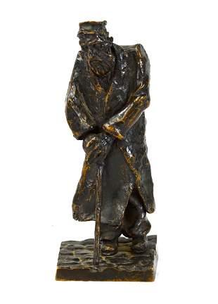 Signed Bronze Figure of Jewish Man