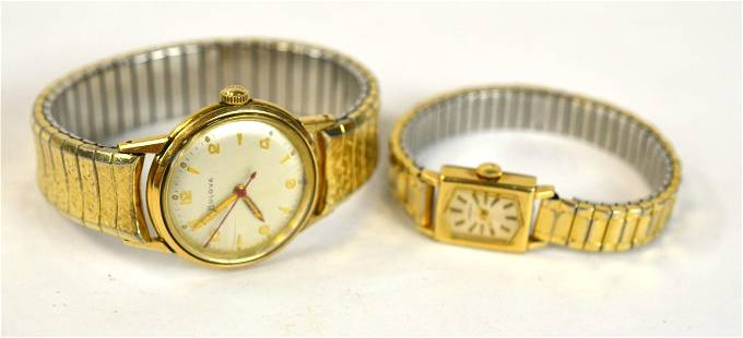 Two Gold Ladies Wrist Watches.
