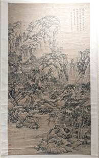 Chinese Scroll Painting , Mountain View Scene