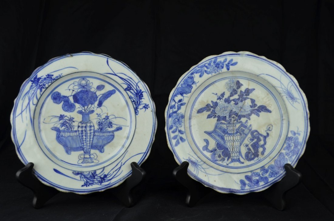 A Chinese Pair of Blue and White  Plates