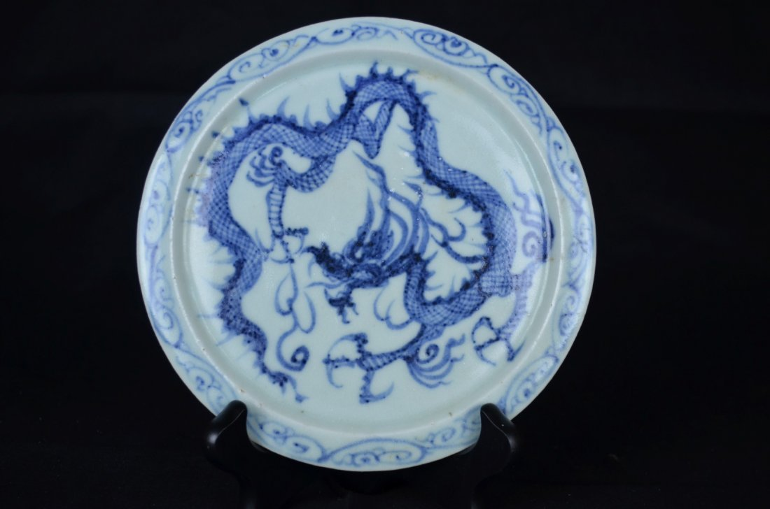 A Chinese White and Blue Dragon Plate