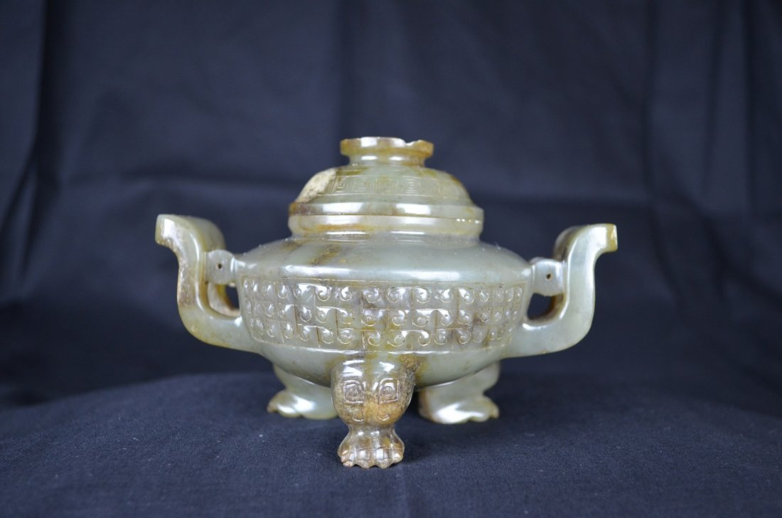 A Chinese  He Tian Green Jade Tripod Censer and Cover